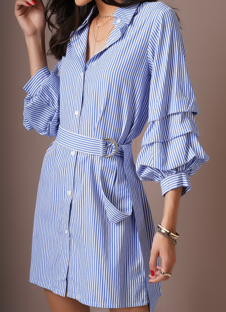 Pinstripe Ruffle Sleeve Dress