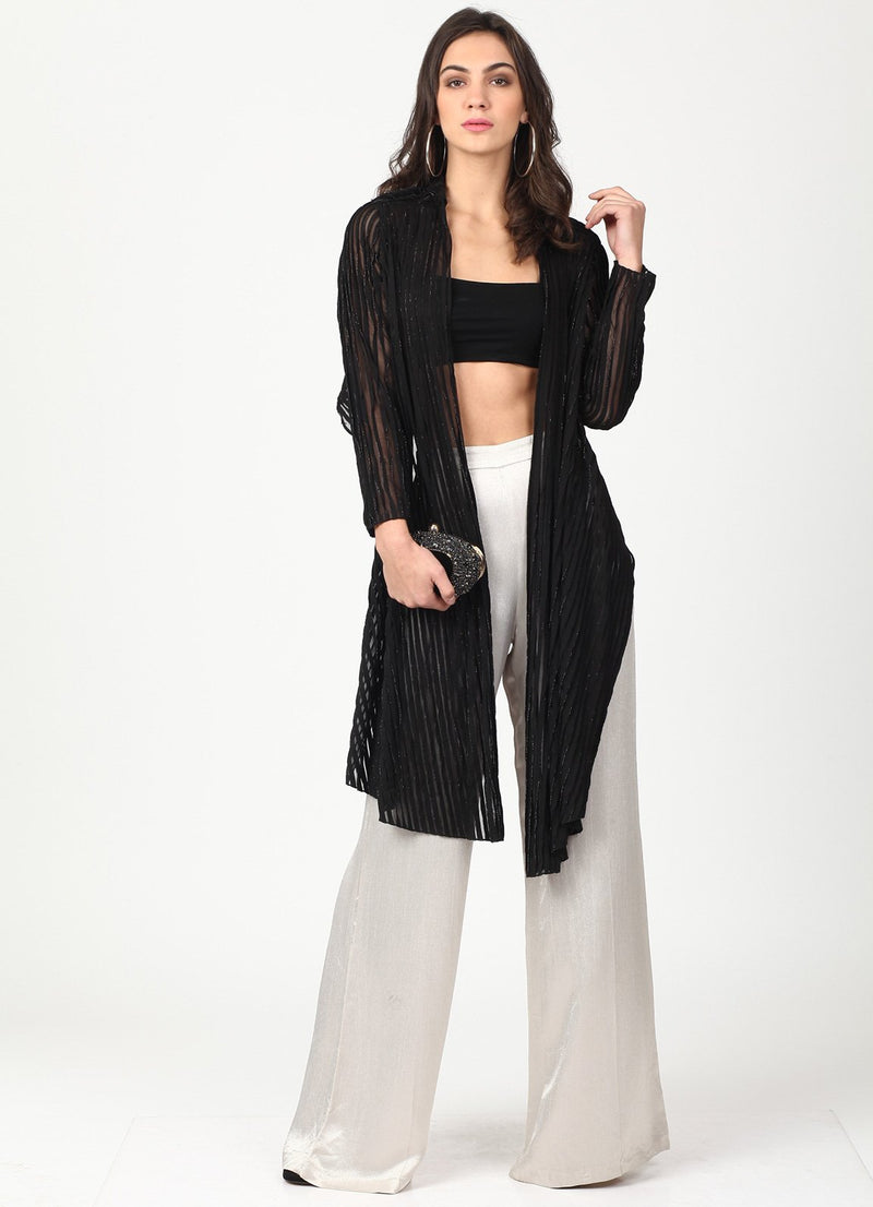 Black Lurex Pleated Shrug