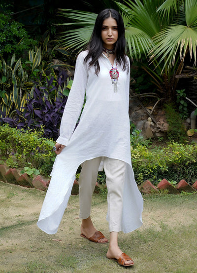 Seher white high-low kurta