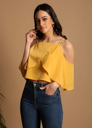 Mustard Cold Shoulder Top