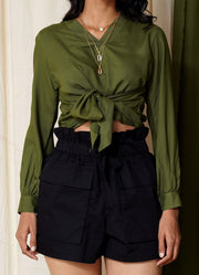 Most Wanted Moss Green Tie Up Crop Top