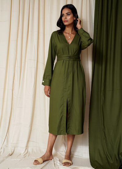 Most Wanted Moss Green Midi Dress
