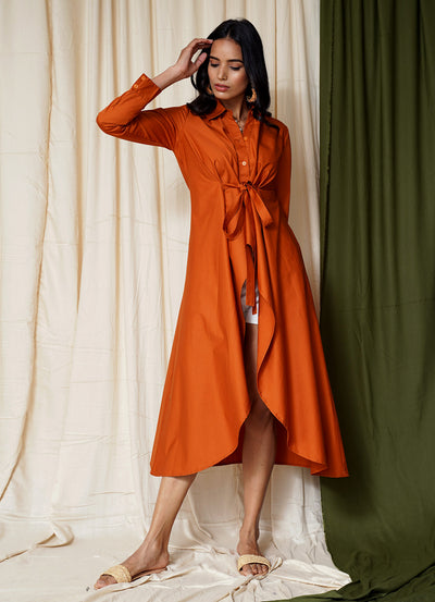 Most Wanted Burnt Orange Front Knot Shirt