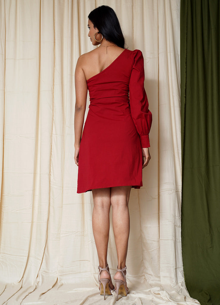 Most Wanted Cherry One Shoulder Dress