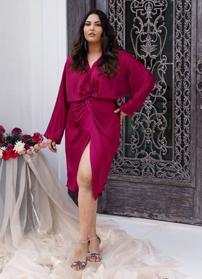 Fuchsia Front Knot Dress