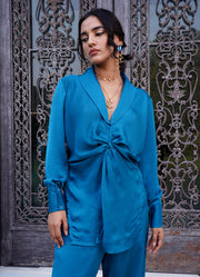 Marseille Blue Front Knot Top