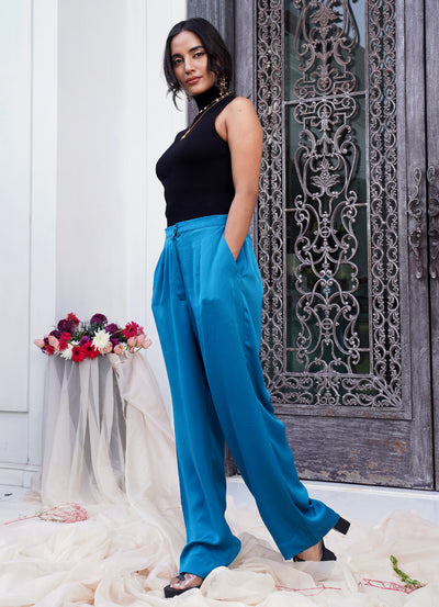 Marseille Blue Wide Leg Pants