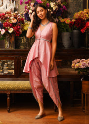 Hasrat Rose Shimmer Peplum Top