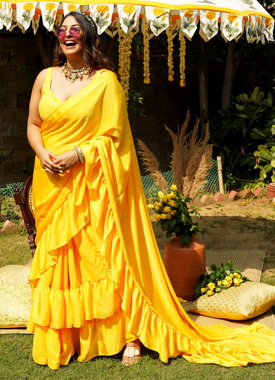 Hey Sunshine Ruffle Sari (Pre-Draped)