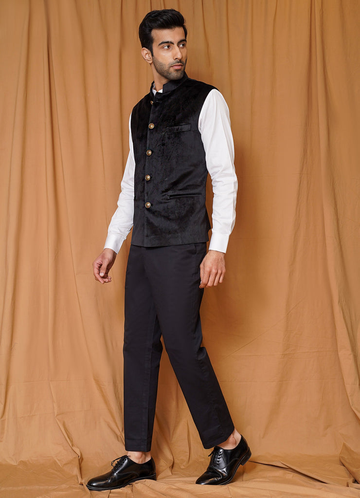 Black Velvet Nehru Jacket