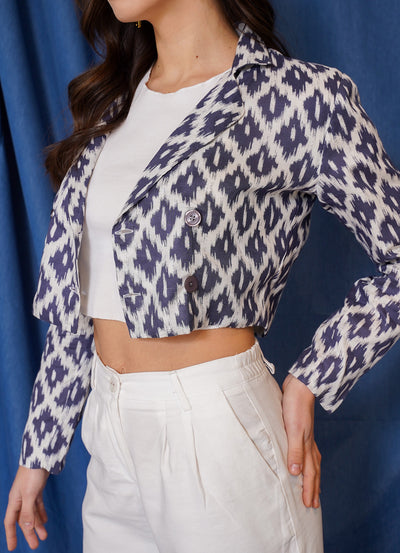 Limited Ikkat Crop Blazer