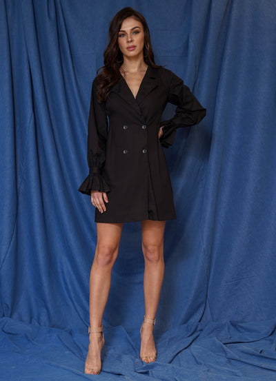 Limited Black Balloon Sleeve Blazer Dress