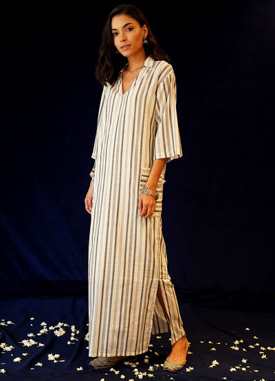Summer Cotton Collared Kaftan