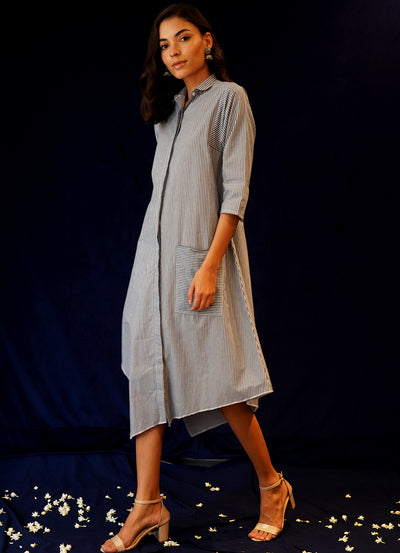 Asymmetric Relaxed Shirt Dress