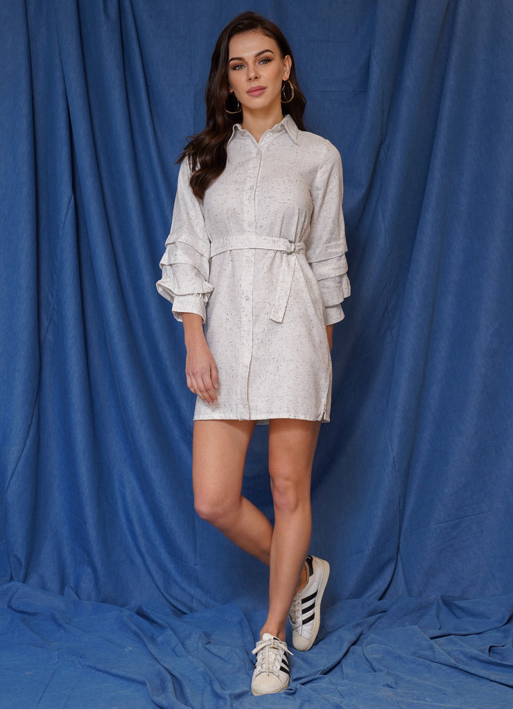 Limited Textured Ruffle Sleeve Dress