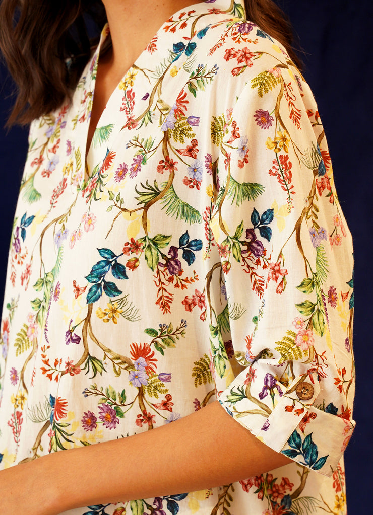 Wildflower Print High Low Kurta