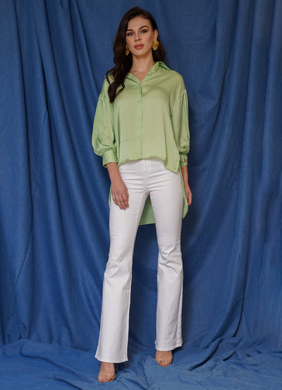 Pista Green Balloon Sleeve Shirt