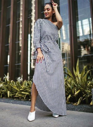 One Shoulder Gingham Maxi Dress