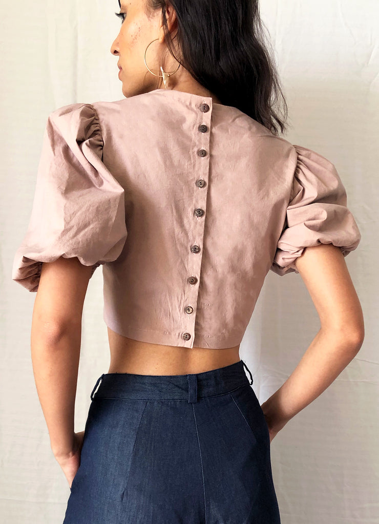Onion Pink Pouf Sleeve Crop Top