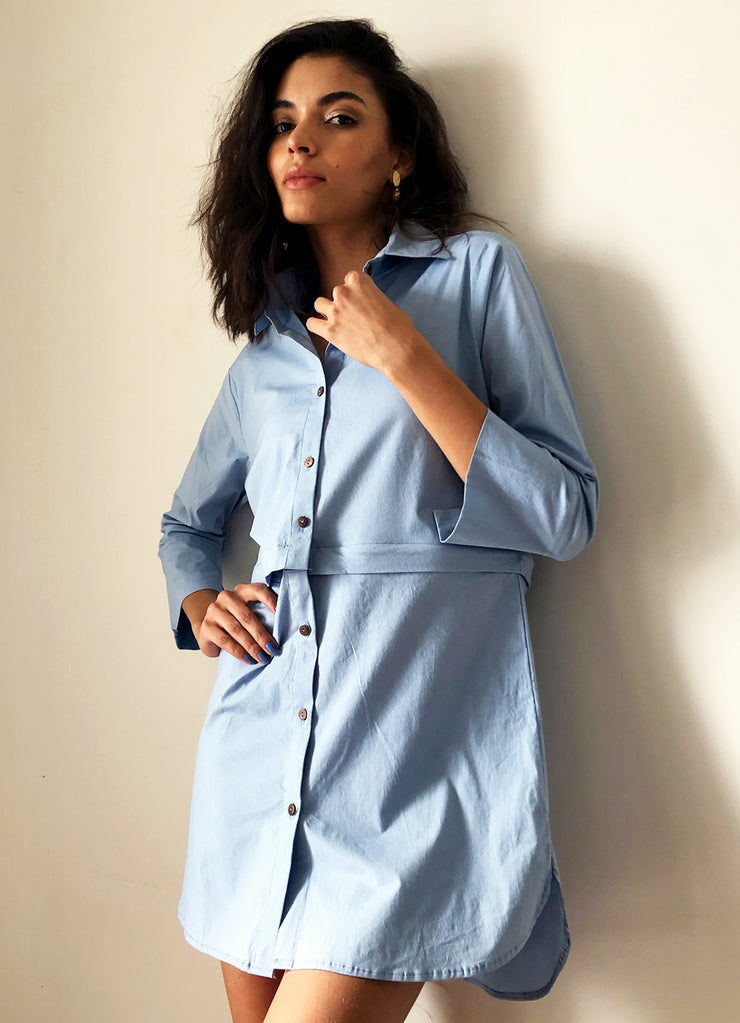 Summer Cotton Convertible Shirt Dress