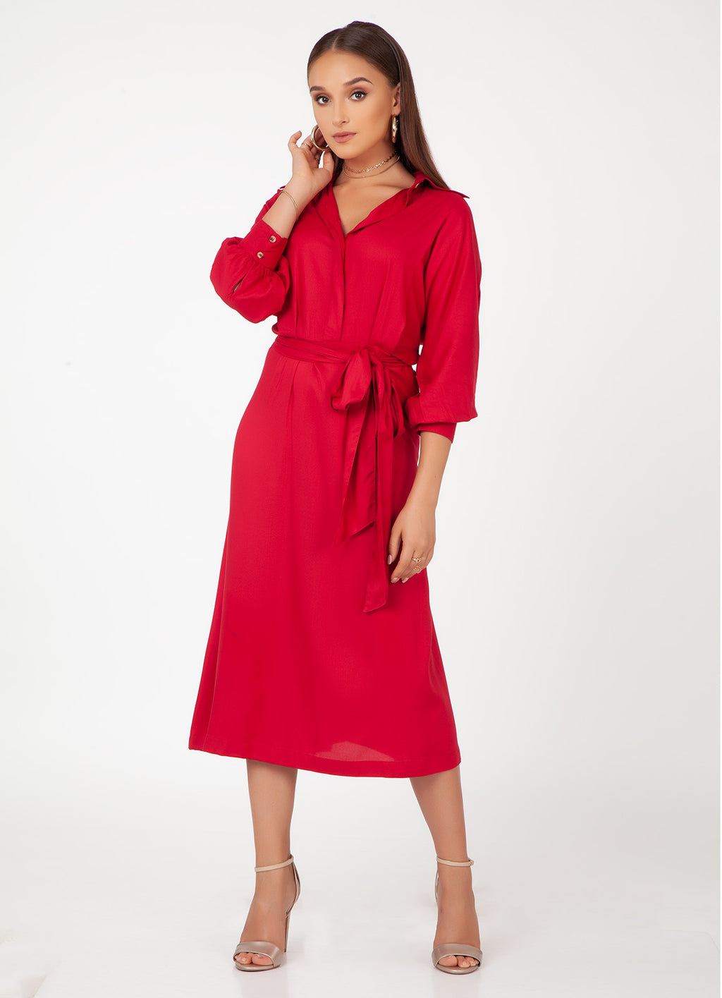 Cherry Midi Dress with Tie Belt