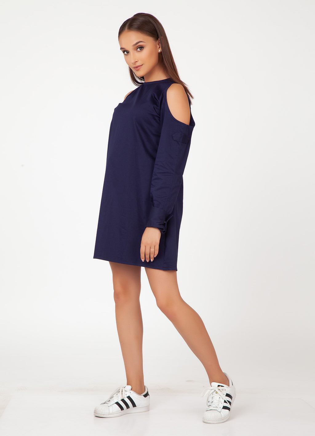 Navy Cold Shoulder Shirt Dress