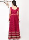 Wine High-Low Shimmer Kurta