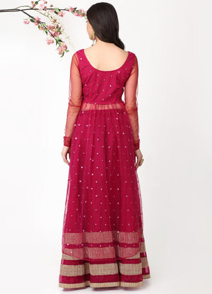 Wine Shimmer Kurta with Organza Skirt