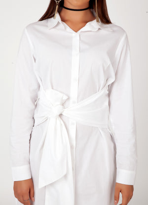 White Front Knot Shirt Dress