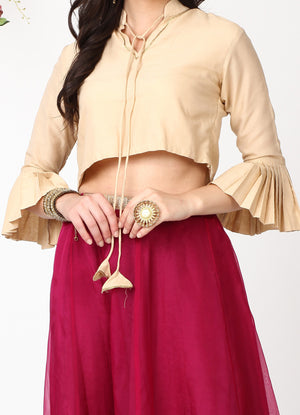 Champagne Pleated Sleeves Blouse with Wine Organza Skirt