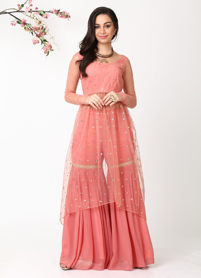 Rose Gold High-Low Shimmer Kurta