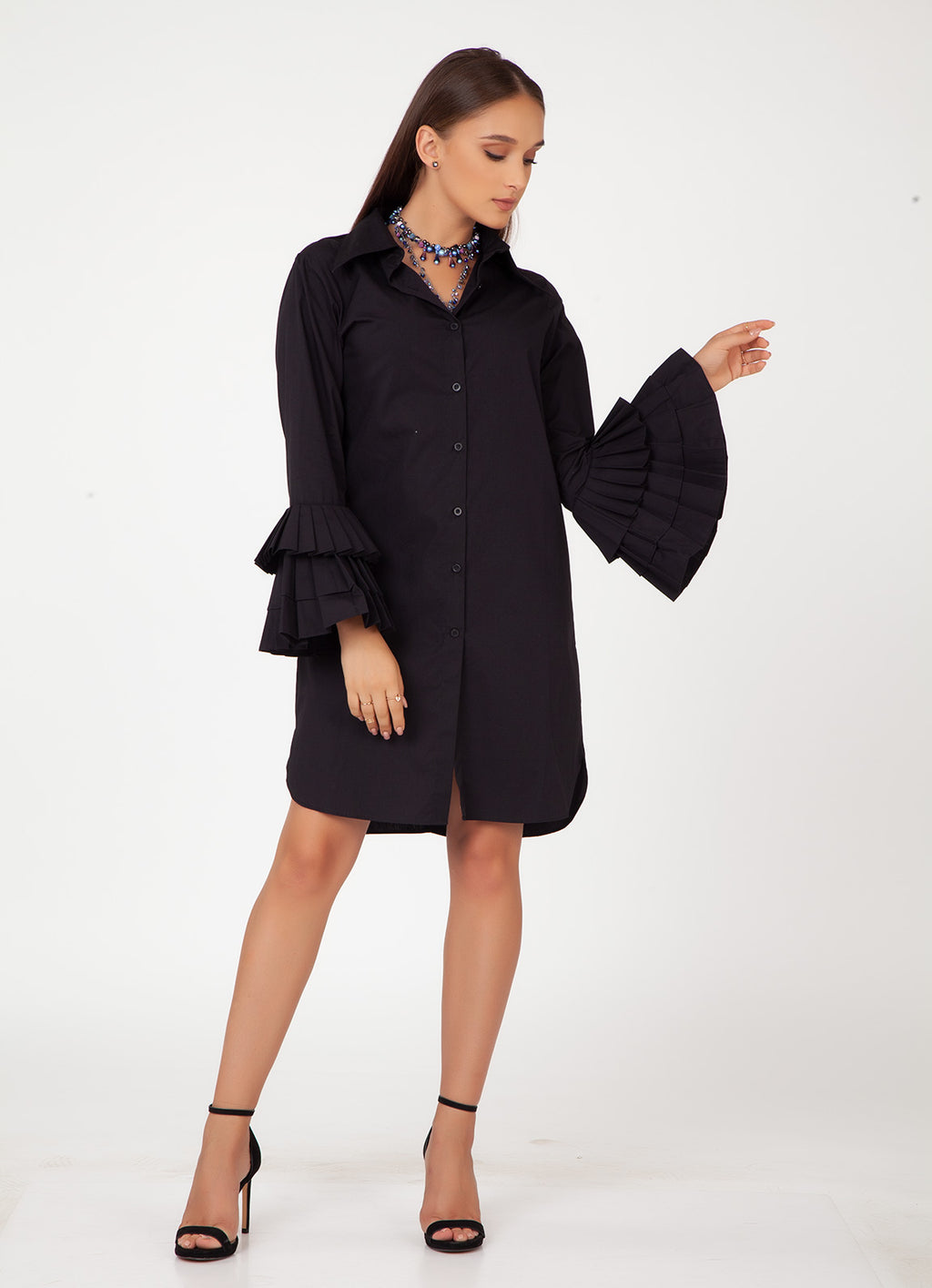 Black Shirt Dress with Pleated Sleeves
