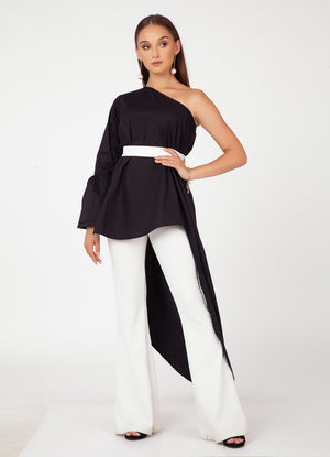 Black Trail Top with Belt