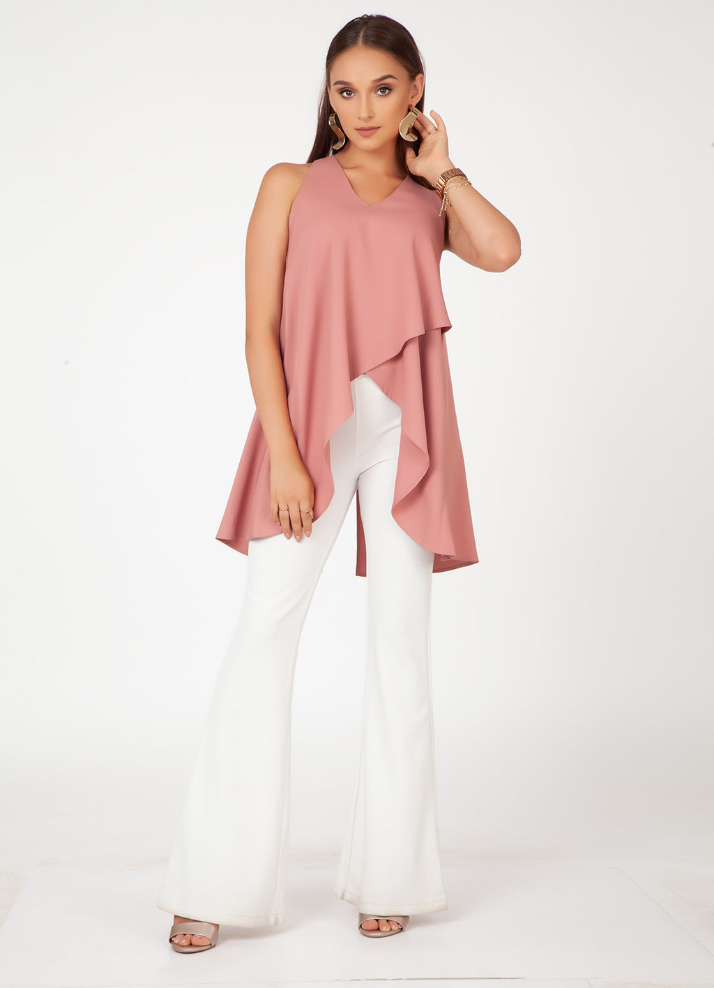 Dusty Rose V-Neck Sleeveless Top