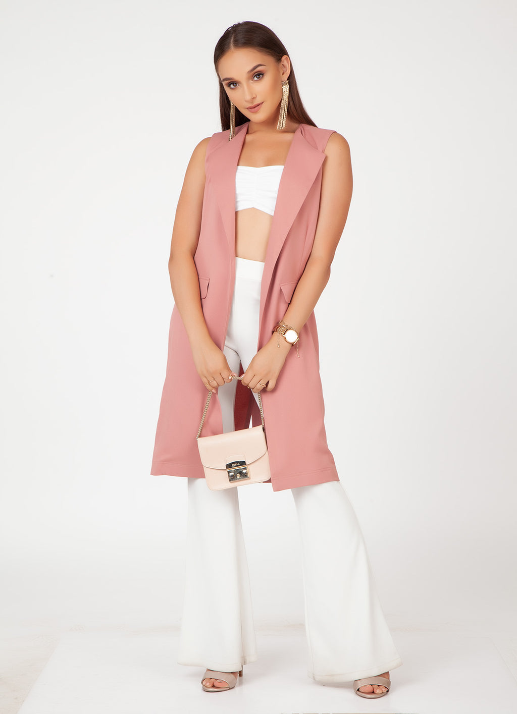 Dusty Rose Sleeveless Trench