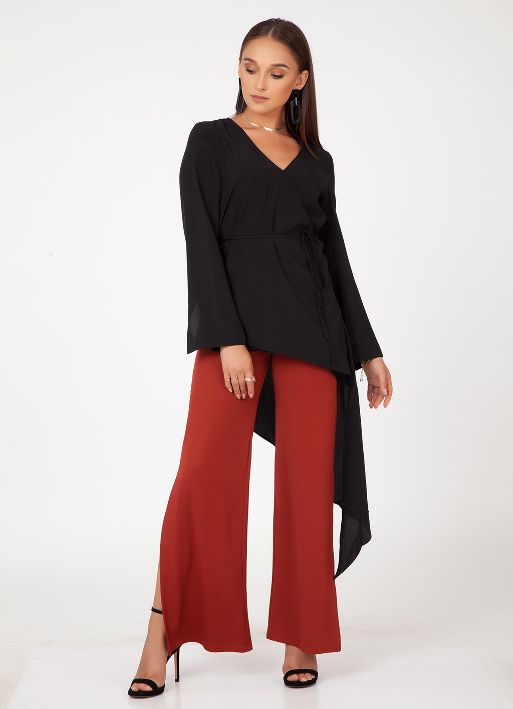 Black Asymmetric Wrap Top