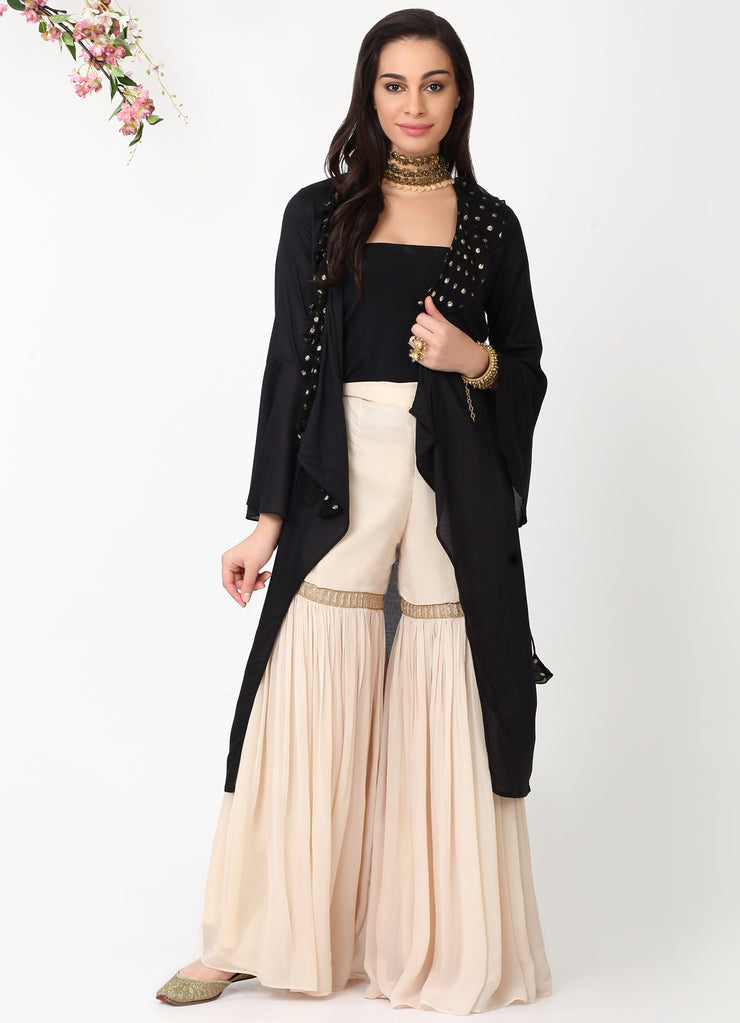 Black Angrakha Kurta Jacket