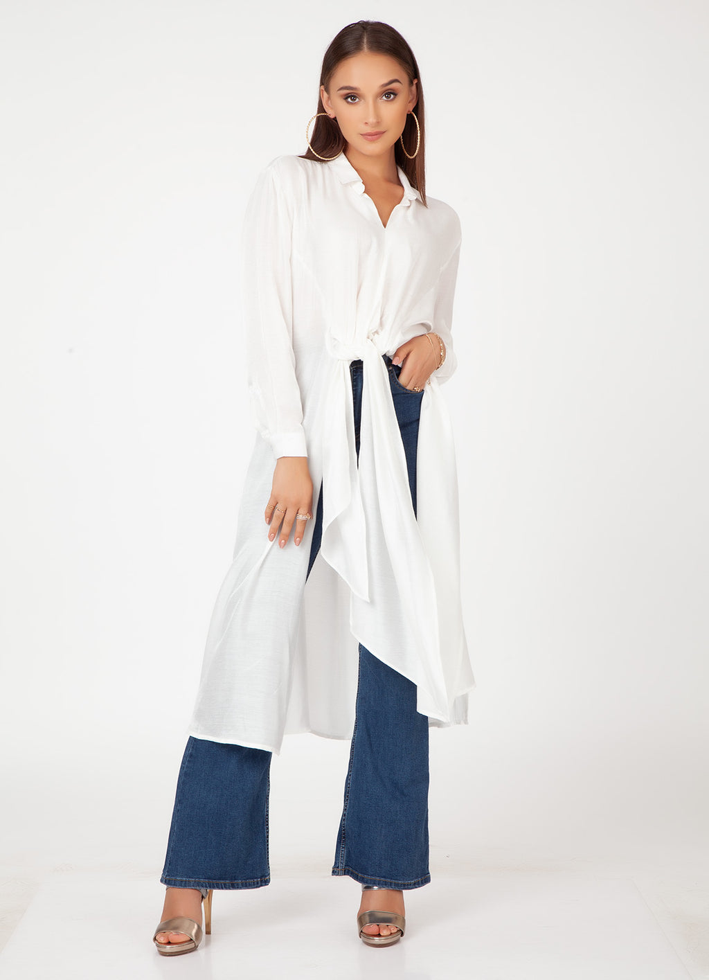 White Shimmer Maxi Shirt with Tie Detail