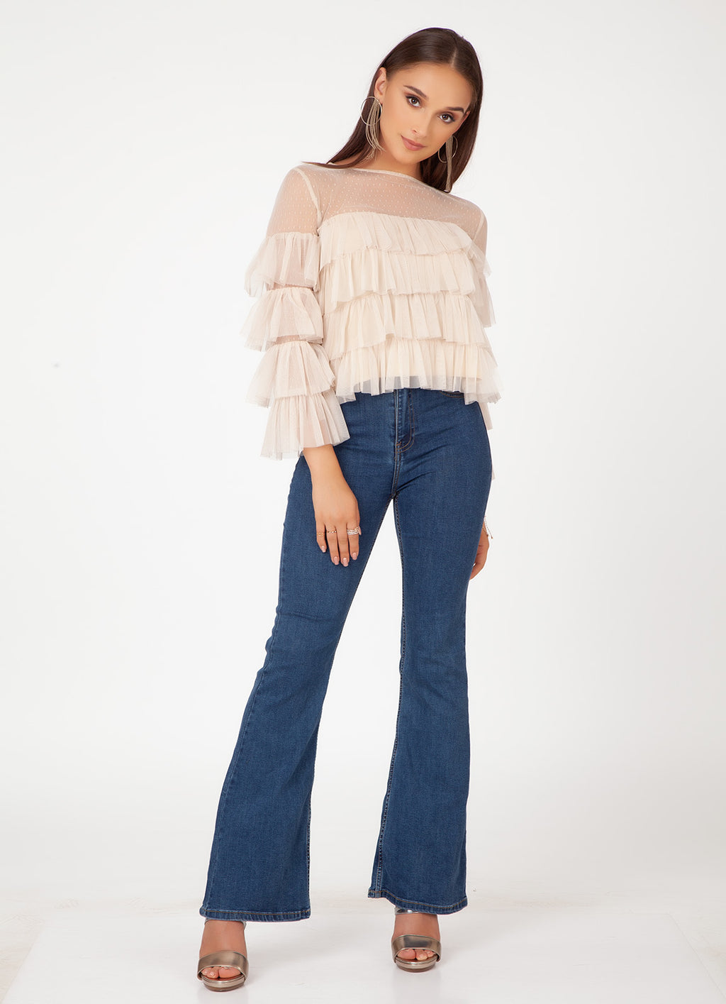 Nude Frill Top