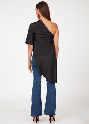 Black One Shoulder Asymmetrical Top