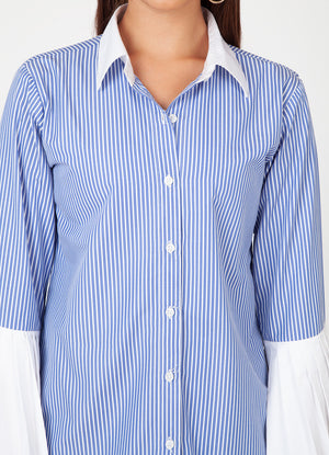 Pinstripe Shirt with Pleated Cuffs