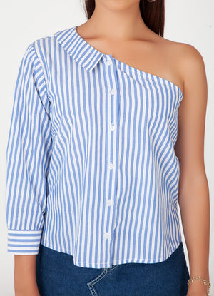 One Shoulder Pinstripe Shirt
