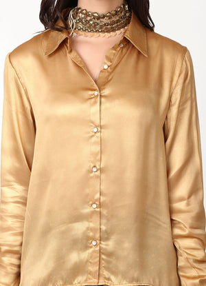 Metallic High Low Shirt