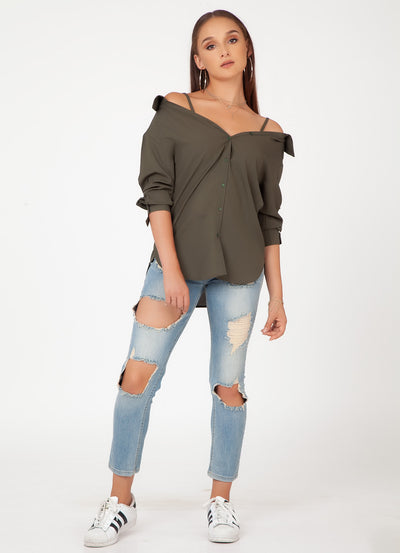Olive Off-Shoulder Shirt