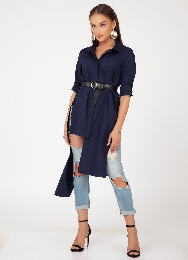 Navy Asymmetric Shirt