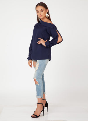 Navy Off-Shoulder Shirt with Slit Sleeves