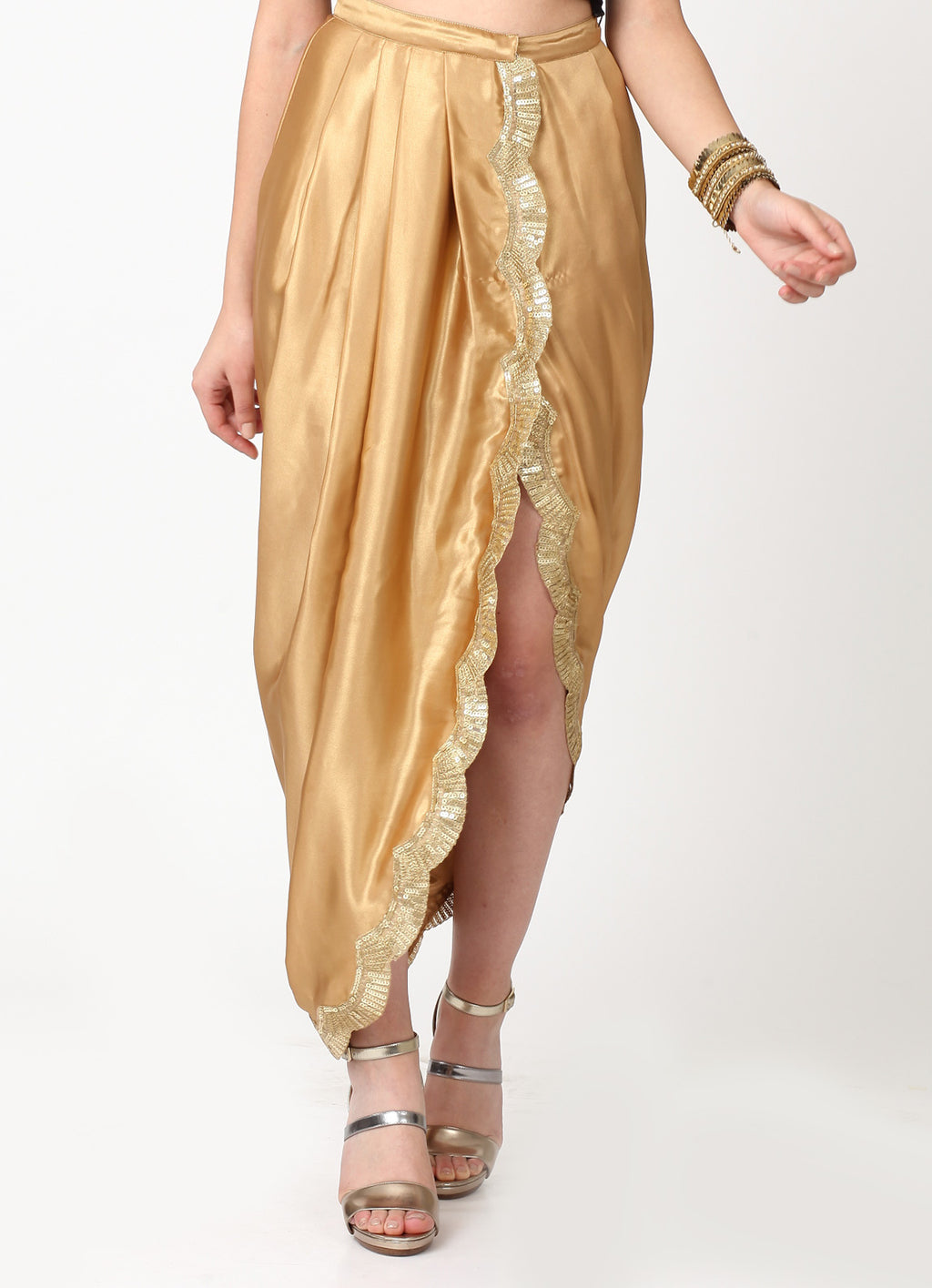 Gold Scallop Wrap Dhoti