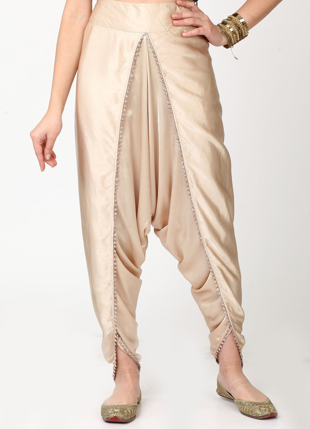 Champagne Dhoti With Gota Trim