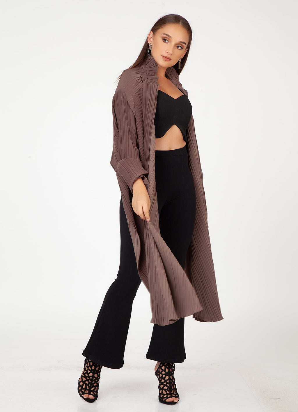 Pleated High Low Shrug