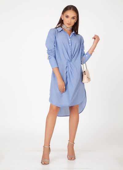 Chambray Twist Front Shirt Dress